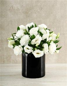 flowers: White and Black Lisianthus Vase!