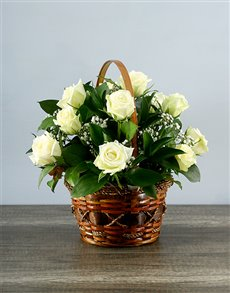 Picture of Whimsical White Rose Basket!
