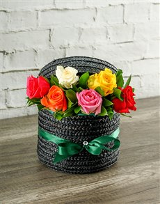 gifts: Mixed Roses in a Hatbox!