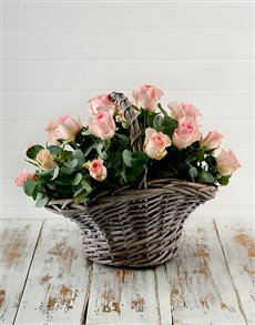 flowers: Pink Roses in a Basket!