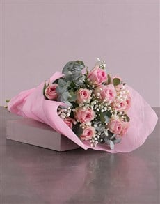 flowers: Pink Roses Bouquet in Pink Paper!