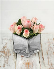 flowers: Pink Roses and Greens in Square Glass Vase!