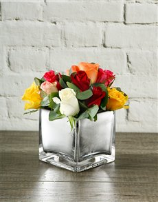 flowers: Rainbow Roses in Silver Square Vase!