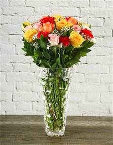 flowers: Mixed Roses in a Crystal Vase!