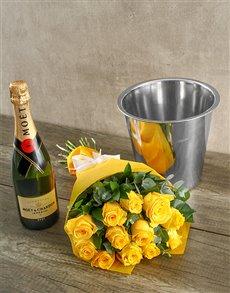 flowers: Moet & Chandon Yellow Rose Surprise!