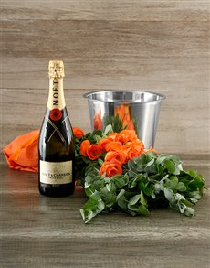 flowers: Orange Rose and Moet Surprise!