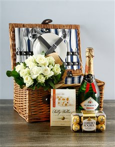 flowers: White Rose Delight Picnic Basket!