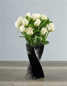 flowers: White Roses in a Black Twisty Vase!