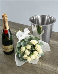 flowers: Moet and White Rose Duo!