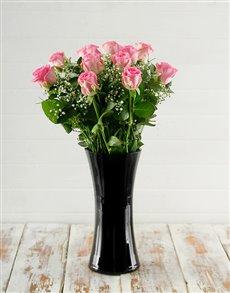 flowers: Pink Roses in Elegant Black Vase!