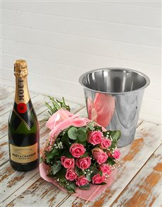 flowers: Pink Roses Bouquet, Moet and Ice Bucket!