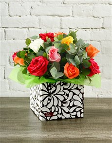 flowers: Rainbow Roses in Designer Box!