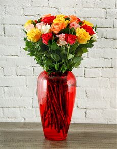 flowers: Rainbow Roses in Crimson Vase!