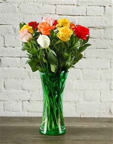 flowers: Rainbow Roses in Grassy Green Vase!