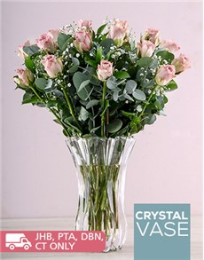 flowers: Lilac Roses in a Clear Crystal Vase!