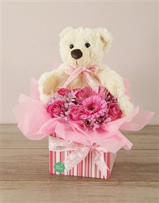 gifts: Baby Girl Flower & Teddy Box!