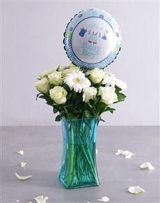 flowers: Baby Boy White & Blue Floral Arrangement!