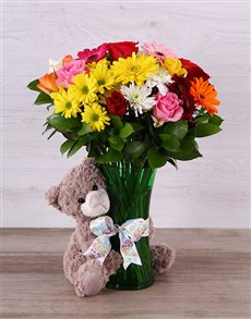 gifts: Bright Mixed Bloom and Teddy Arrangement!