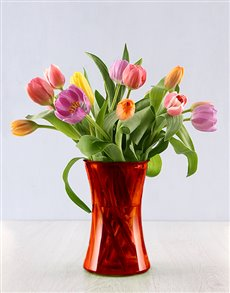 flowers: 15 Bright Tulips in a Red Flair Vase!