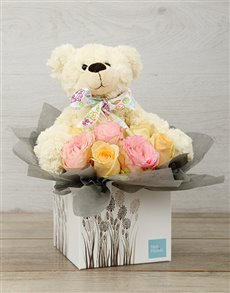gifts: New Baby Pastel Rose & Teddy Box!