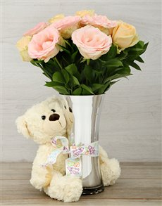 flowers: Flair Pastel Roses and Teddy Arrangement!