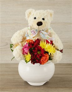 gifts: Teddy and Mixed Bloom Arrangement!