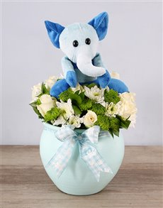 gifts: Blue Elephant Teddy and Rose Arrangement!