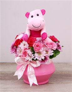 gifts: Pink Hippo Teddy and Rose Arrangement!