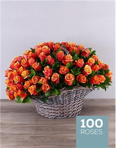 gifts: Gray Basket of Cherry Brandy Roses!