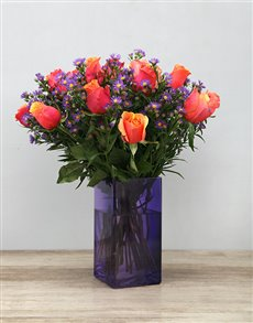 flowers: Cherry Brandy Roses in Purple Vase!