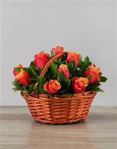 Flowers - Basket : Cherry Brandy Roses in Woven Basket!