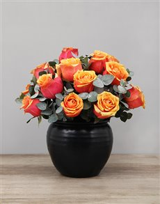 flowers: Cherry Brandy Roses in Black Ceramic Pot!