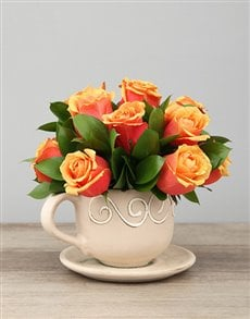 flowers: Ceramic Tea cup of Cherry Brandy Roses!