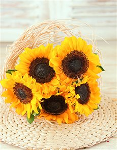 Sunflowers in a Bouquet Holder