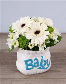 gifts: Pure White Ceramic Baby Bag Arrangement!