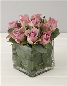 Flowers: Lilac Roses in Small Square Vase!