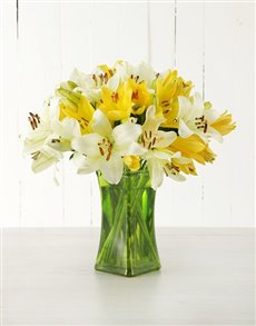 flowers: Yellow Asiflorum Lilies in Green Vase!