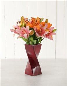 flowers: Pink & Orange Lilies in Red Twisty Vase!