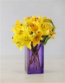flowers: Yellow Asiflorum Lily and Leriopi Vase!