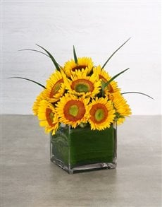 flowers: Green Button Sunflower & Leriopi Vase!