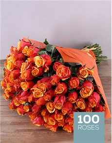 flowers: Cherry Brandy Roses In Orange Wrapping!