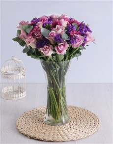 gifts: Roses & Sprays in Clear Flair Vase!