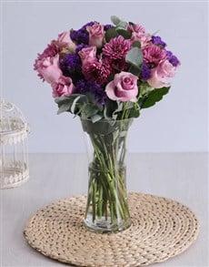 flowers: Roses & Sprays in Clear Flair Vase!
