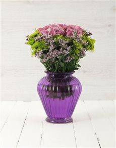 flowers: Roses & Sprays in Purple Lantern Vase!