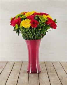 flowers: Roses, Gerberas and Sprays in Pink Vase!