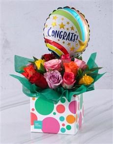 gifts: Congratulations Mixed Rose and Balloon Box!