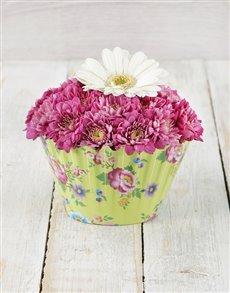 flowers: Cosy Mixed Gerbera and Spray Cupcake Arrangement!