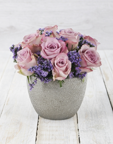 flowers: Lilac Roses in Silver Ceramic Vase!