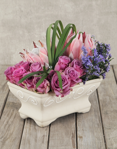 flowers: Pink Dreams Protea & Rose Pot!