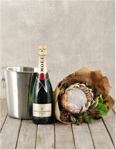 flowers: Moët and King Protea Bouquet with Ice Bucket!